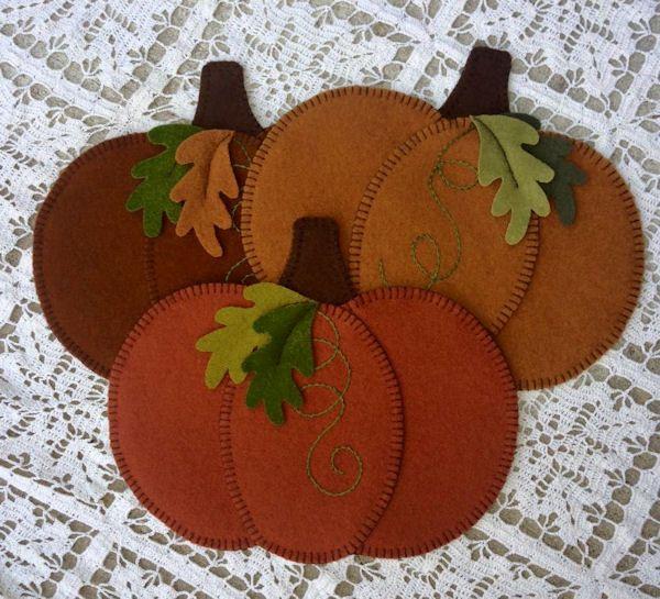 Wool applique Pumpkins