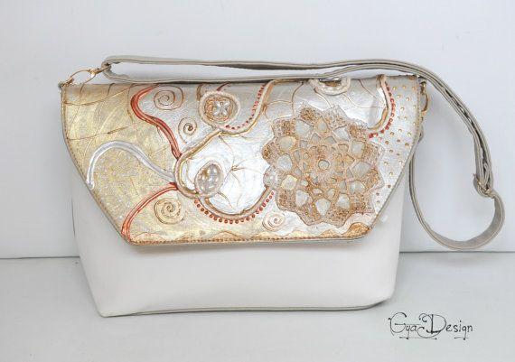 Ivory handbag purse hand painted abstract design by GyaDesign