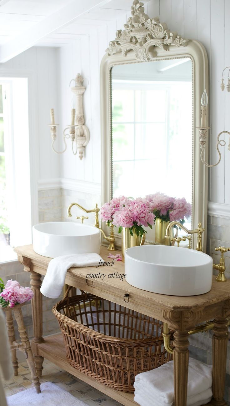 French country bathrooms - Elegant French Cottage Bathroom Renovation Peek Why I Am In Love Already French Country