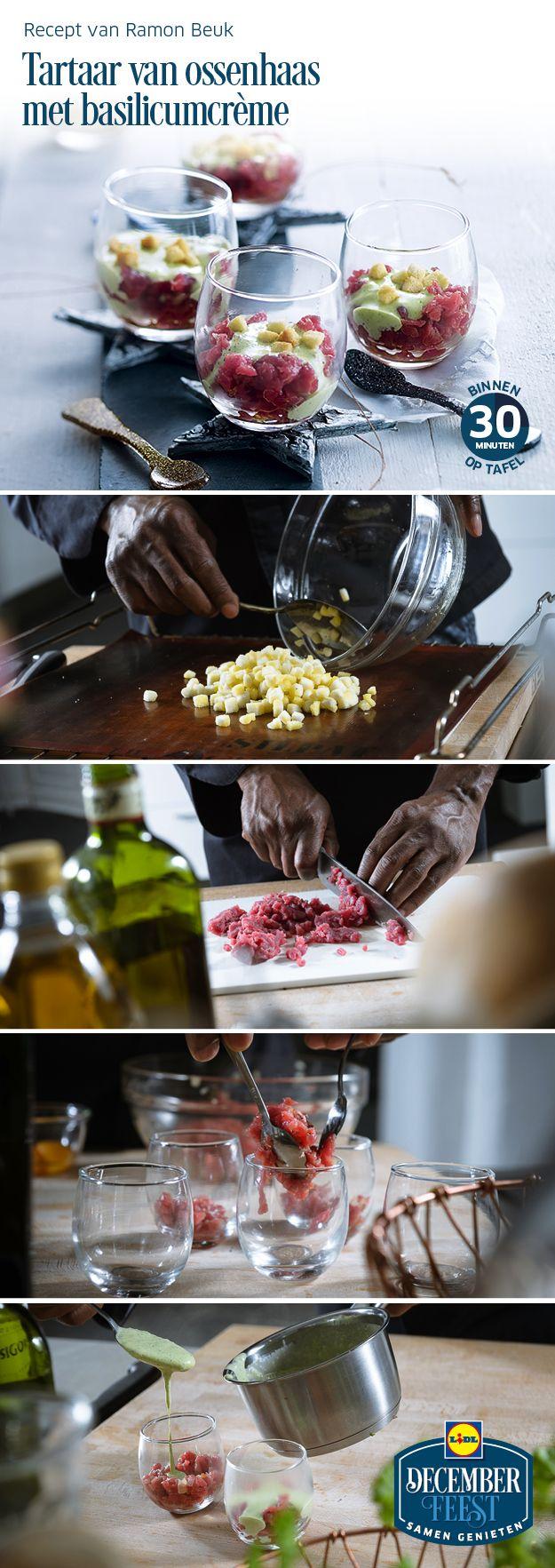 Deze tartaar van ossenhaas met basilicumcrème is gemakkelijk zelf te bereiden! Meer December Feest recepten ontdekken? Kijk op www.lidl.nl #Lidl #Decemberfeest