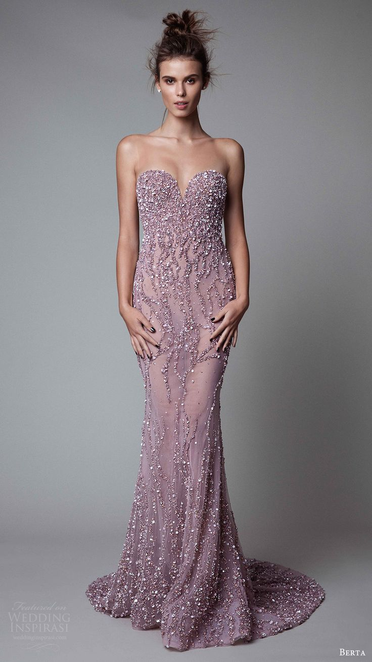 berta rtw fall 2017 (17 12) illusion strapless sweetheart sheath beaded evening…