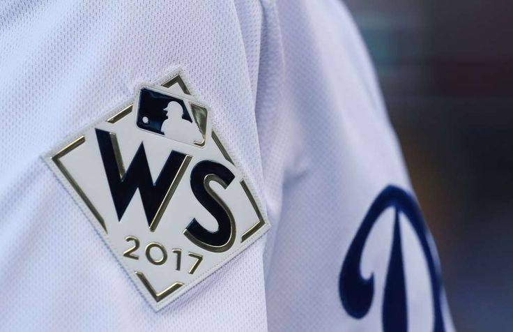 October 24, 2017:  World Series Game 1.  3 to 1, Dodgers.  Teams wear World Series patches on their uniforms before Game 1 of the World Series at Dodger Stadium on Tuesday, Oct. 24, 2017, in Los Angeles. ( Brett Coomer / Houston Chronicle ) Photo: Brett Coomer/Houston Chronicle