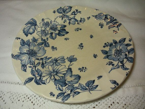 Beautiful Blue and White Meakin Plate by WhereTheRoosterCrows, $2.50