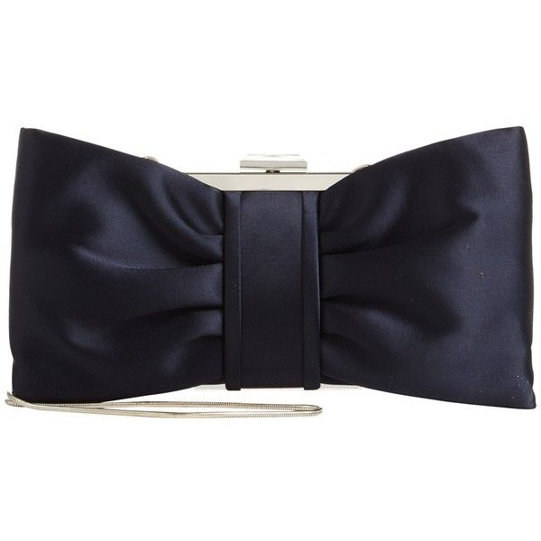 Phase Eight Suzie Satin Bow Clutch Bag (1 365 UAH) ❤ liked on Polyvore featuring bags, handbags, clutches, navy, navy blue handbags, evening clutches, evening purses clutches, navy blue clutches and handbag purse