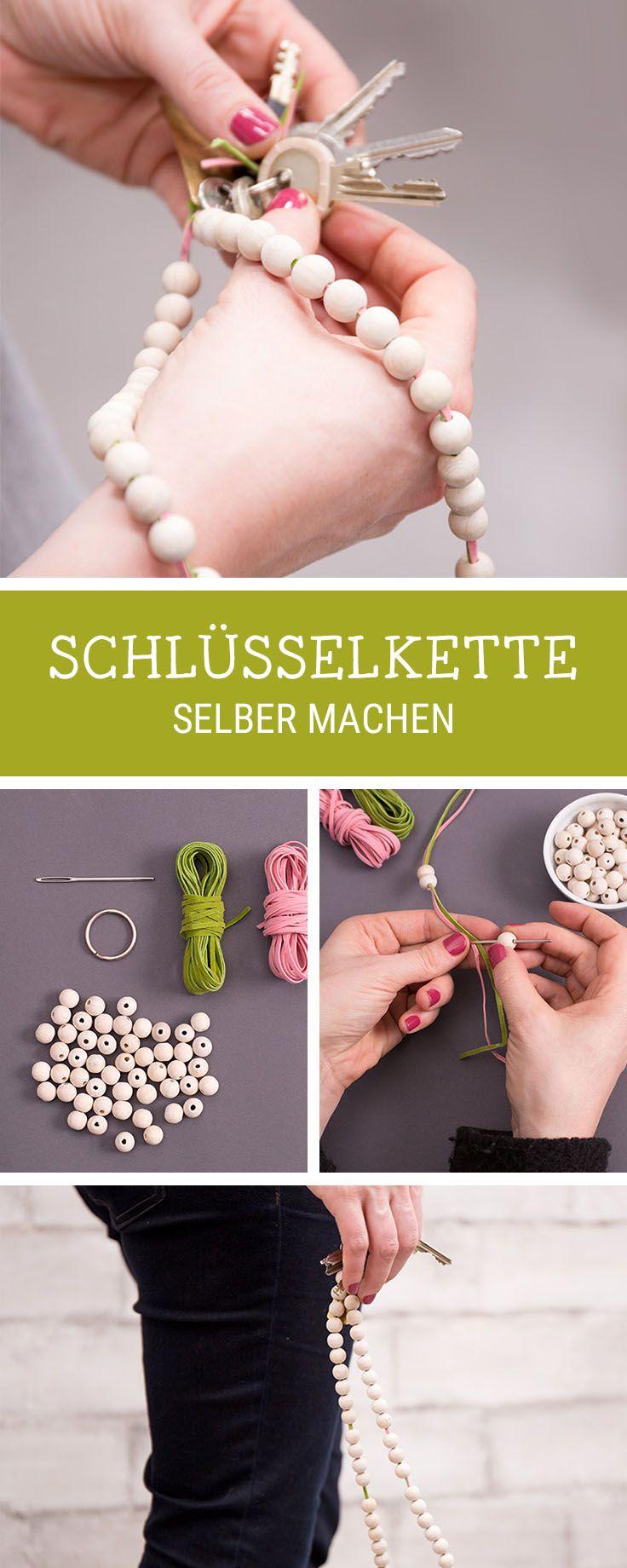Basteln mit Kinder: Schlüsselkette aus Holzperlen selbermachen / easy kids DIY: use wooden pearls to make a keychain via DaWanda.com