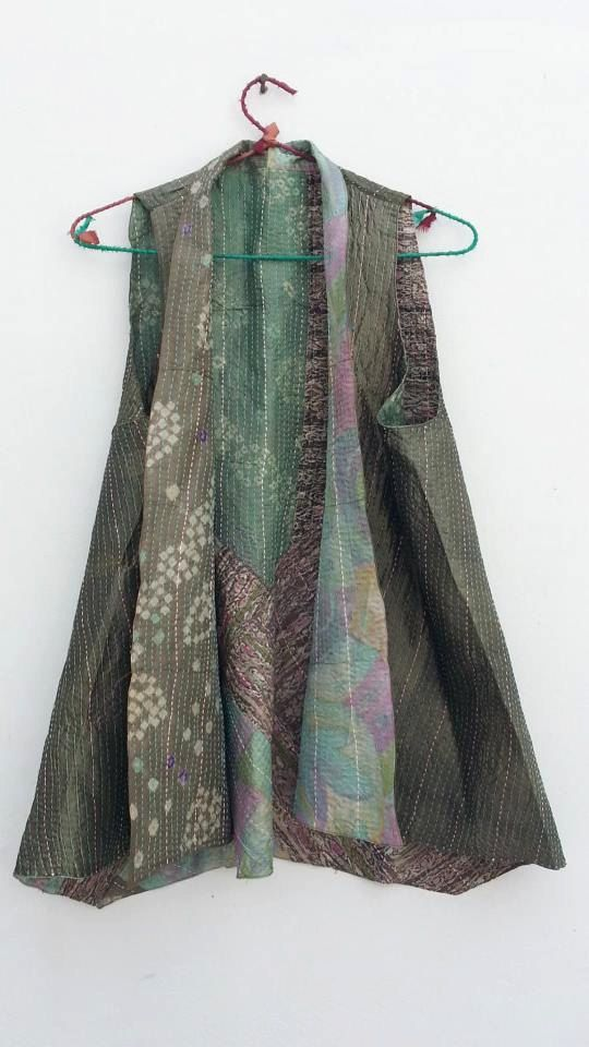 Recycled Sari silk, reversible hand stitched vest