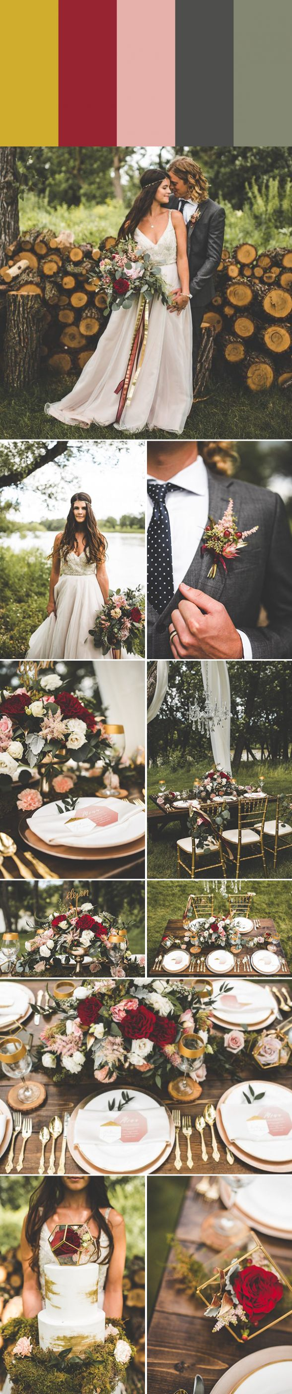 Choose one of these metallic wedding color palettes including gold, copper, silver, and more to add a little sparkle to your wedding day!