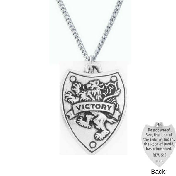 Handcrafted Fine Pewter Victory Shield Necklace | Revelation 5:5