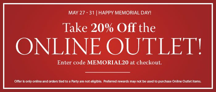 Take 20% Off the Online Outlet until 5/31/2016!