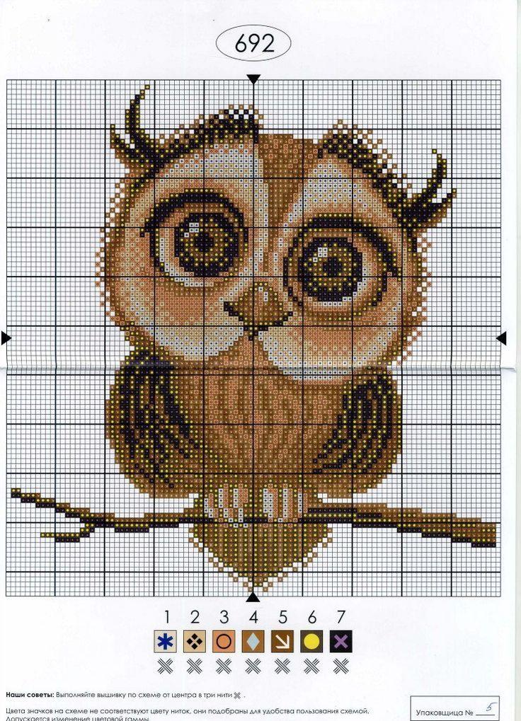Схемы для вышивания сова
