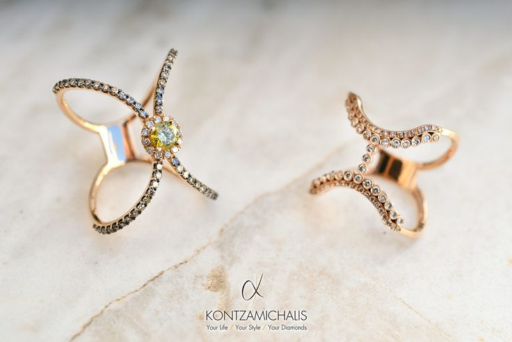 Designing jewellery can be quite a hard task but it is also very rewarding. Enjoy these flowing-design diamond rings. #KontzamichalisJewellery