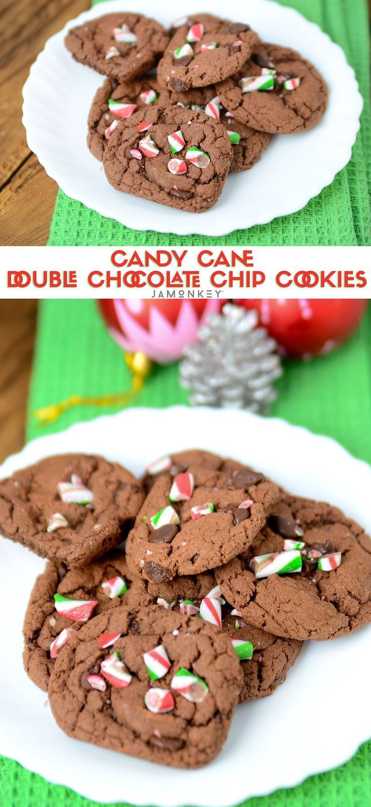 Candy Cane Double Chocolate Chip Cookies