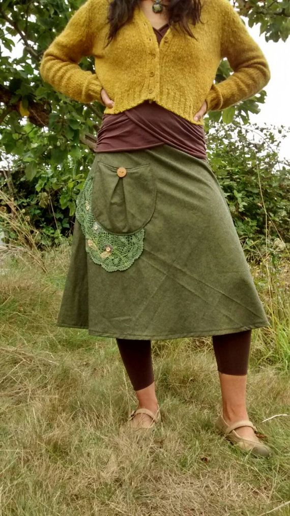 Organic cotton wrap skirt with linen embroidery derails
