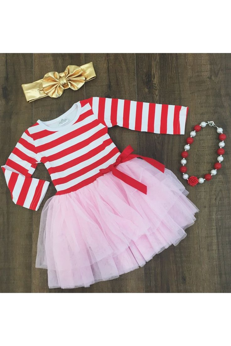 Red White Stripe with Pink Tutu Dress