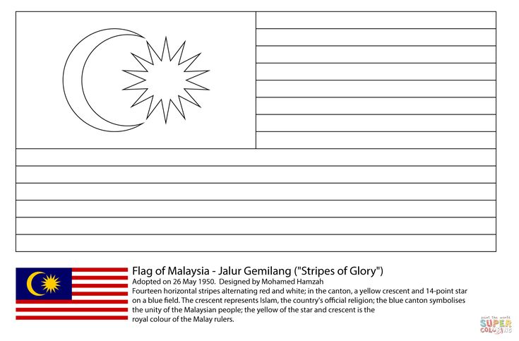 Flag of Malaysia coloring page from Asian flags category. Select from 29062 printable crafts of cartoons, nature, animals, Bible and many more.