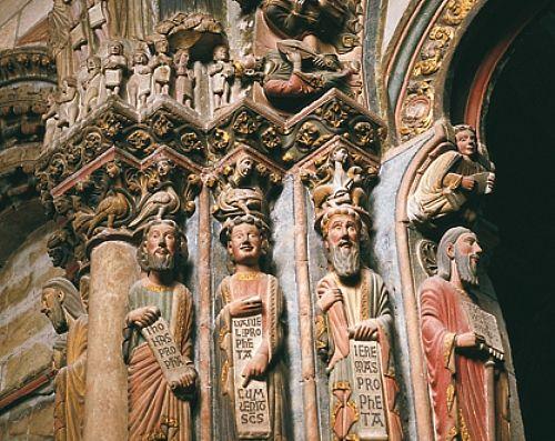 Portíco de la Gloria de la catedral de Santiago de Compostela. Portico of the Glory from the cathedral of Santiago de Compostela, Galicia, España / Spain
