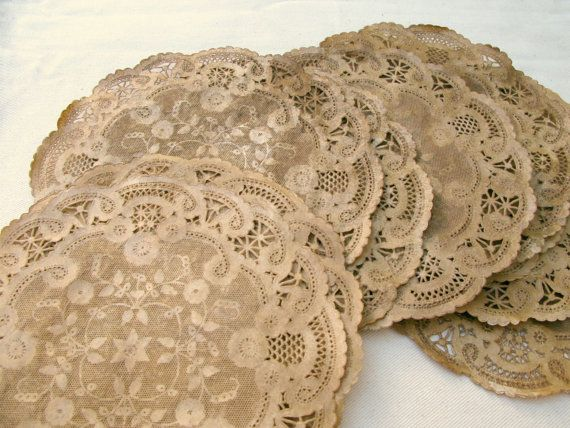 Aged Paper Doilies, Walnut Stained, Vintage Style 8, Wedding Placemats, Party Place Setting, Rustic, French, Farm Style Decor set of 10