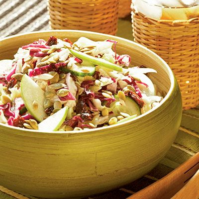 Country Apple Slaw is a fresh twist on your typical slaw. It's sweet, sour, and savory.