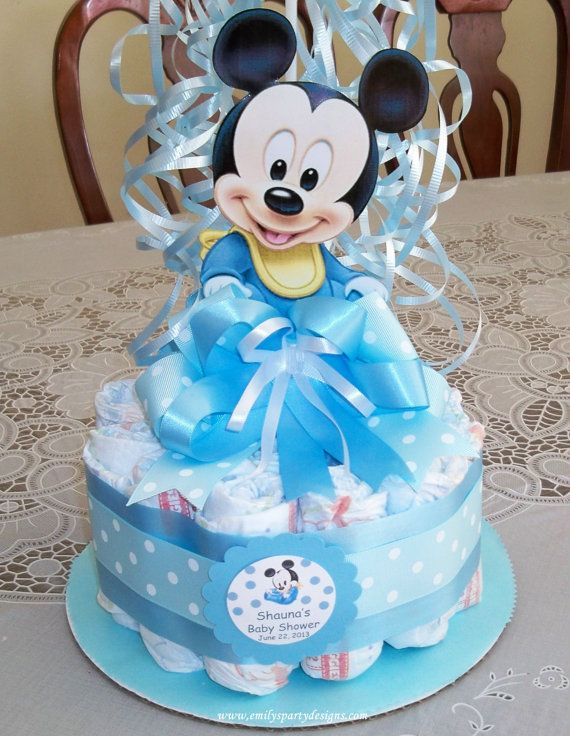 Baby shower diapers centerpiece mickey mouse by for Baby mickey decoration ideas