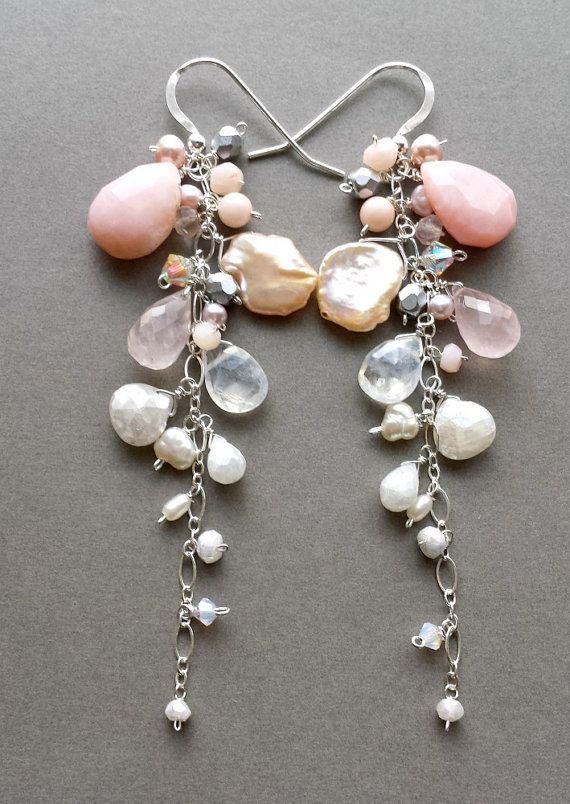 Pink White Dangle Earrings Long Gemstone by BellaAnelaJewelry