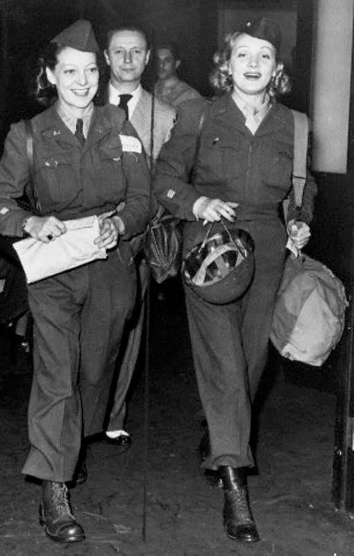 Marlene Dietrich and friend in ETO uniform ~