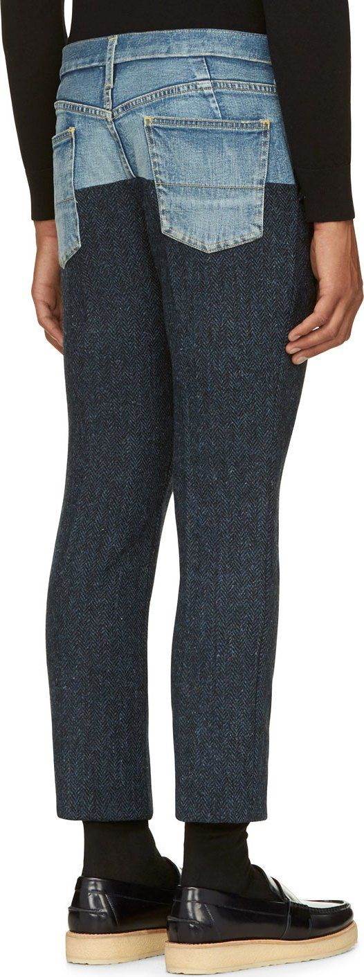 Miharayasuhiro Navy Twill & Denim Paneled Trousers. Would be interesting to see them feminised.