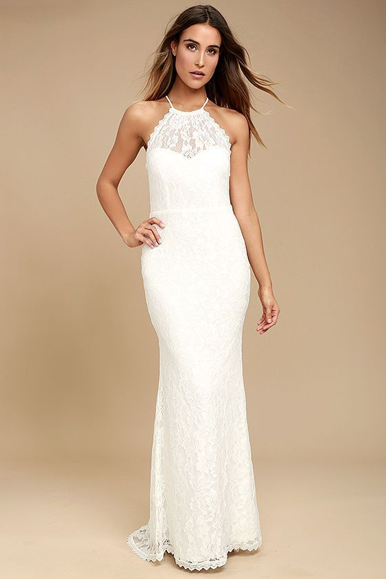 White maxi dress with sweetheart lace bodice