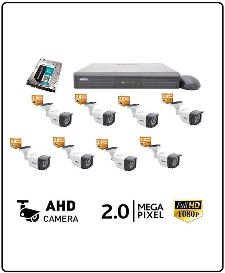 """8 Adet SP-CBN-5920 2 Mega Pisel Full HD AHD Güvenlik Kamerası 1/2.7"""" CMOS 1920X1080 30 IR 3.6MM LENS SP-1008Z-AHD 8 KANAL 1080p P2P 3G Full HD Dvr Kamera Kayıt Cihazı. Cep Telefonlarından Sabit İp ye Gerek Olmadan Kesintisiz İzlenir. Seagate Surveillance 2TB 3.5″ 5900RPM Sata 3.0 64Mb 7×24 Güvenlik Hard Diski ( 30 Gün Geri İzleme İmkanı ) 12 v 8.3 Amper Kamera Besleme Adaptörü 300 Metre Cctv Kamera Kablosu 16 Adet Bnc – 8 Adet Power Jack Montaj İçin Gerekli Aparatlar (Vida,Dübel v.s.)…"""