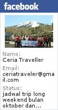 More info dan pendaftaran ke: email ceriatraveler@gmail.com, pin bb: 25AE589F, whatsap: 08176505975,FB: ceria traveller. website: www.ceriatraveller.com