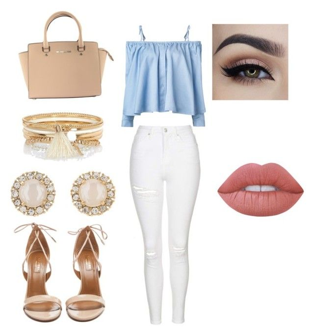 Lovely outfit by michellegarza2000 on Polyvore featuring polyvore, fashion, style, Sandy Liang, Topshop, Aquazzura, Michael Kors, Kate Spade, River Island, Lime Crime and clothing