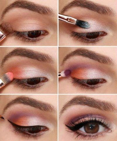 Летний макияж для глаз коричневого цвета