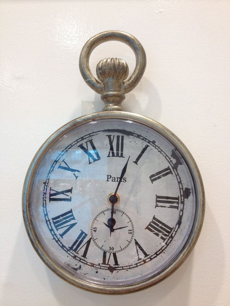 Paris Wall Clock £24.99: Shabby chic metal Paris vintage wall clock with bold face features roman numerals. AA batteries required (not included): Approx Dimensions: H: 28.3cm x W: 19.3cm x D: 3.5cm