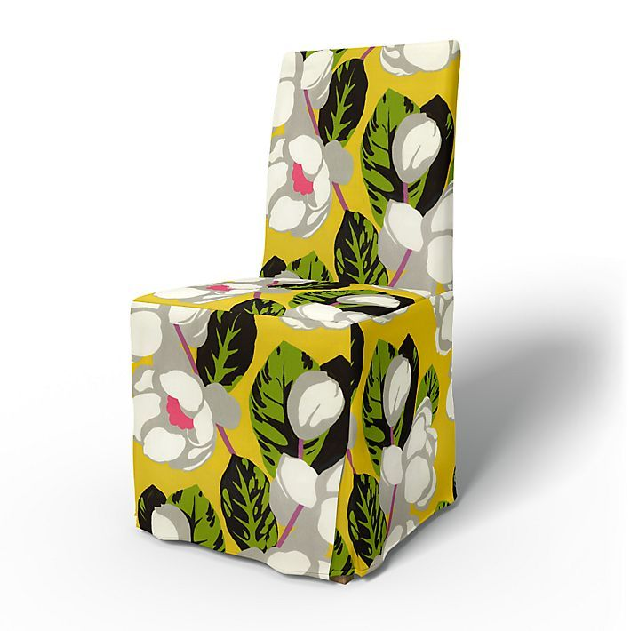 Henriksdal, Chair Covers, Chairs, Regular Fit long skirt, box pleats using the fabric Flamingo Park Lemongrass