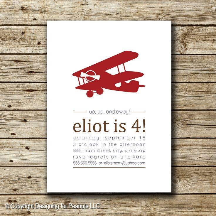 Vintage Airplane Invitation invite by designingforpeanuts on Etsy