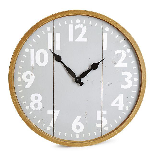 Grigia Horloge murale couleur grise et bois D38.5cm
