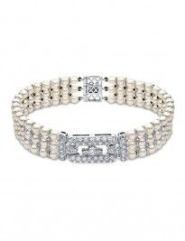 Art Decò style bracelet with cultured pearls and diamonds
