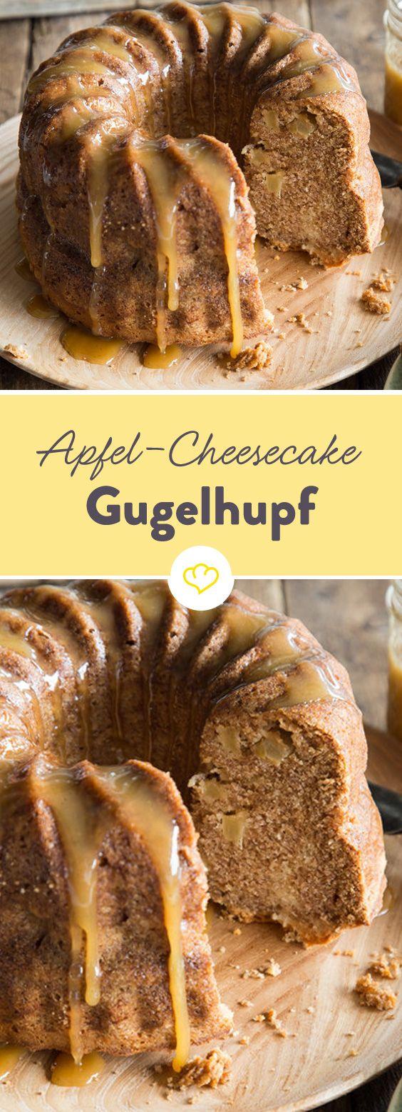 Vielleicht nicht auf den ersten, dafür aber auf den zweiten Bissen erkennbar - der Cheeseke. Im Apfel-Gugelhupf und mit Karamell eine Wucht.