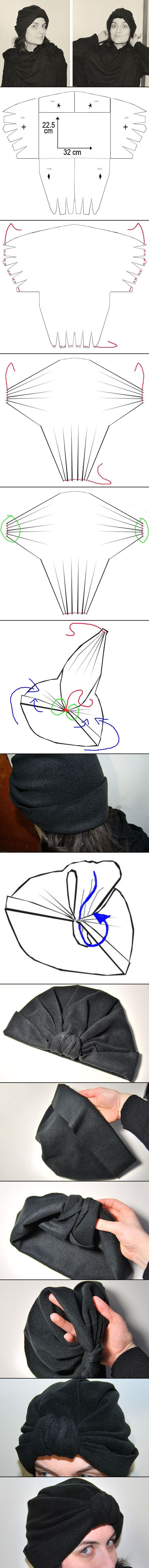 http://ragstocouture.com/turban-hat-diy-printable-pattern/