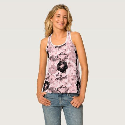 Wild Rose Pattern Millennial Pink Tank Top - initial gift idea style unique special diy