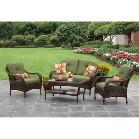 Azalea ridge 4 piece outdoor conversation set green for Better homes and gardens azalea ridge chaise lounge