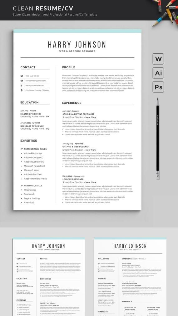 Resume Template Modern Professional Resume Template For