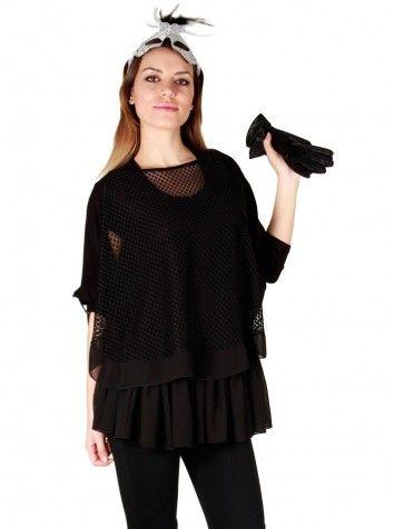 Özel Tasarım Siyah Bluz MMS1454