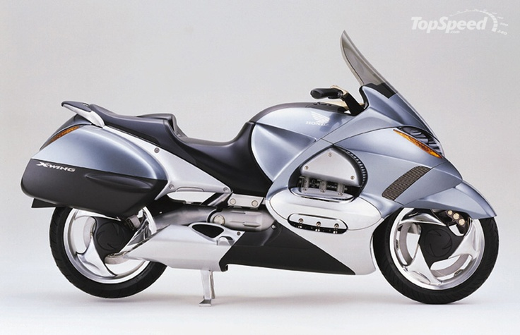 This bike was unveiled in 1999 by Honda but never made it the consumer. It was the Honda V6 X wing. A 1500 cc engine. Looks like fun.