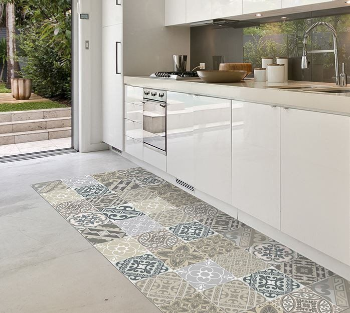 Get the Tile look in your kitchen with these super practical Floor Mats #gaudionfurniture #floormat #rug #tile