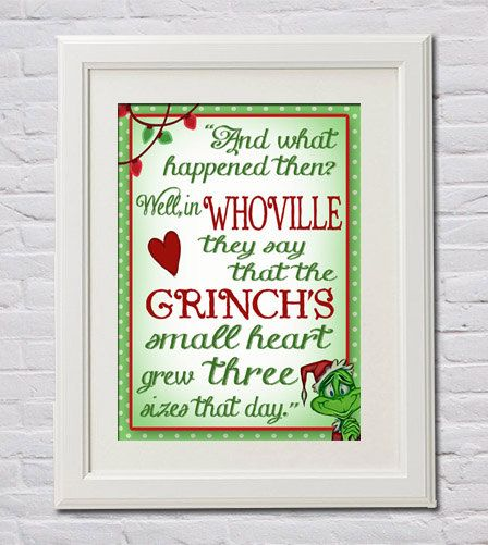 Instant Download The Grinch's Small Heart Grew by FourHappyFaces