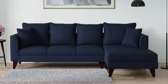 Lara Lhs Three Seater Sofa With Lounger In Navy Blue Colour By Casacraft In 2020 Sofa Set Sectional Sofa Sofa Set Online