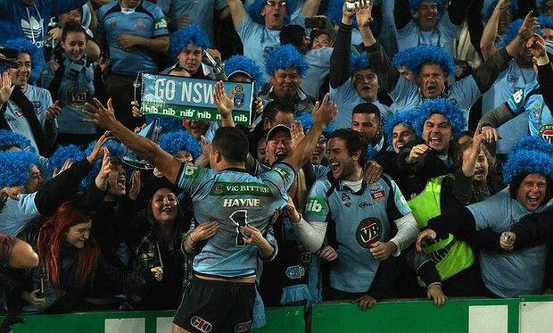 Jarryd Hayne celebrates their win with NSW fans. Game 2. Held in Sydney 18th June 2014. GO THE BLUES.