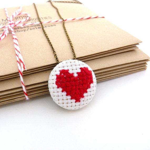 Cross Stitch Heart Necklace on Antique Brass Jewelry by zelmarose  (I like the cross stitch heart pattern)