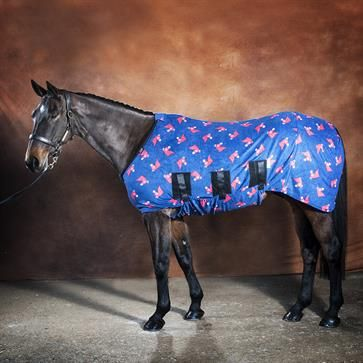 Jams Fleece Stable Horse Rug - Blue Horse Heads from Snuggy Hoods Australia