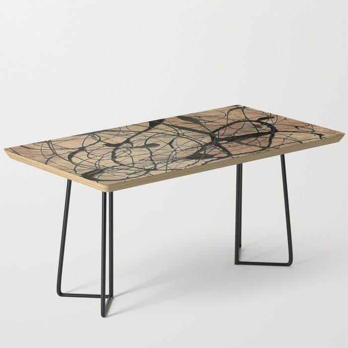 Pollock Inspired Abstract Black On Beige Coffee Table 133 By